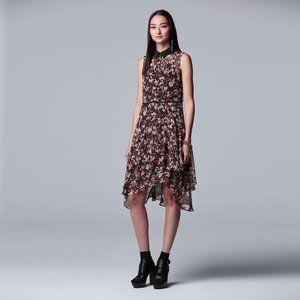 Simply Vera Wang Black/Red Chiffon Tiered Dress XS